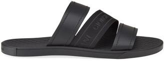Giorgio Armani Men's Tonal Logo-Strap Leather Slide Sandals