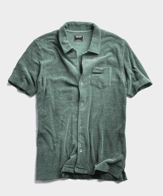 Todd Snyder Terry Button Down Polo in Pistachio