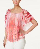 JM Collection Printed Poncho-Sleeve Top, Only at Macy's