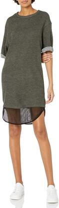 Lucca Couture Women's Short Sleeve Layered Sweatshirt Dress