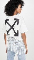 Off-White Off White Asymmetrical Hem Fishnet Tee