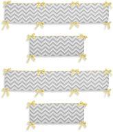 Sweet Jojo Designs Zig Zag Chevron 4-Piece Crib Bumper in Grey/Yellow