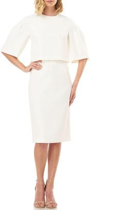 Kay Unger New York Harper Drop-Shoulder Popover-Bodice Stretch Crepe Dress