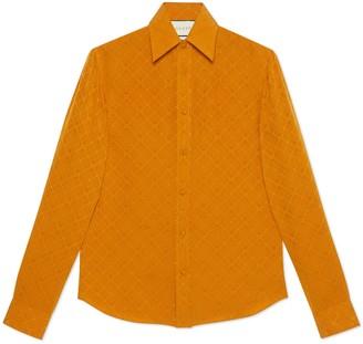 Gucci Men's check GG silk crepe shirt