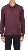 Brunello Cucinelli Men's Wool-Cashmere Polo Sweater-BURGUNDY