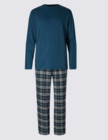 Marks And Spencer Brushed Cotton Stay Soft Checked Pyjama Set