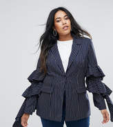 Unique 21 Hero Plus Pinstripe Blazer With Ruffle Sleeves Co-Ord