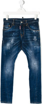 DSQUARED2 distressed jeans - kids - Cotton/Leather/Spandex/Elastane - 14 yrs