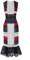 Naeem Khan Color block Flounced Hem Midi Dress