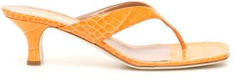 Paris Texas CROCODILE PRINT MULES 40 Orange Leather