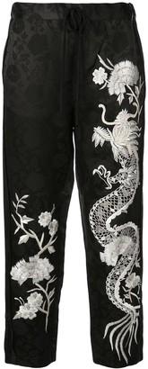 Josie Natori embroidered jacquard trousers