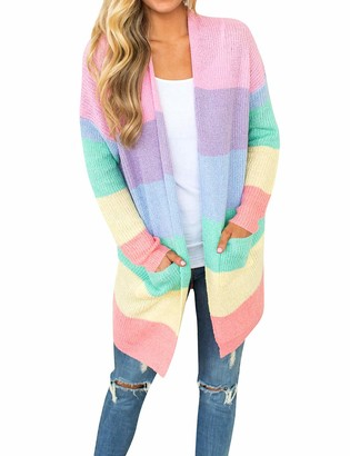 FromNlife Women Fashion Knitwear Open Front Long Sleeve Rainbow Striped Pockets Cardigan Blouse