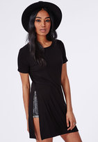 Missguided Split Side T-Shirt Black