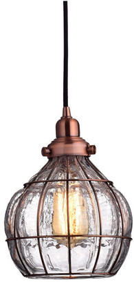 Claxy Vintage Bowl Cracked Glass Pendant Light, Red Antique Copper