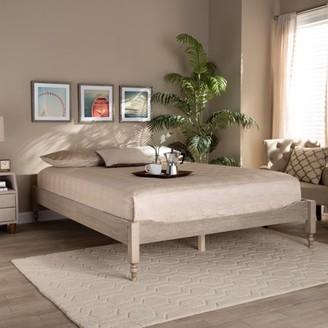 Baxton Studio Laure French Bohemian Antique White Oak Finished Wood King Size Platform Bed Frame