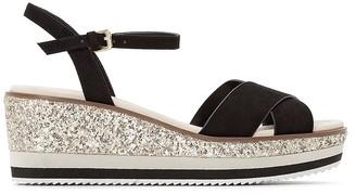La Redoute Collections Sequined Wedge Heel Sandals