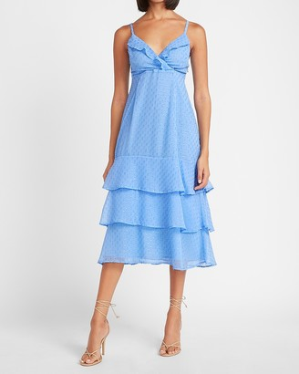 Express Clip Dot Ruffle Wrap Front Midi Dress