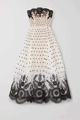 Oscar de la Renta Strapless Embroidered Tulle Gown - Ivory