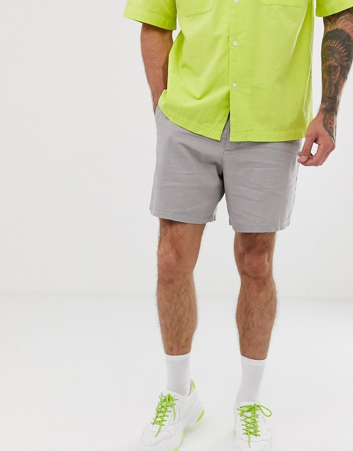 ASOS DESIGN slim shorts in gray linen mix with heavy wash