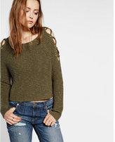 Express lace-up cold shoulder pullover