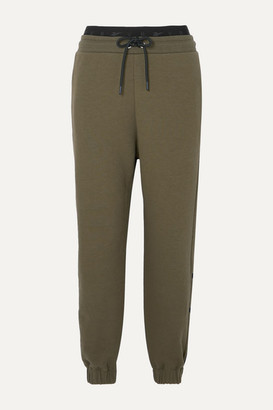 Reebok x Victoria Beckham Embroidered Cotton-jersey Track Pants - Army green