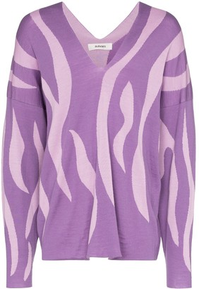 Sulvam striped wool V-neck sweater