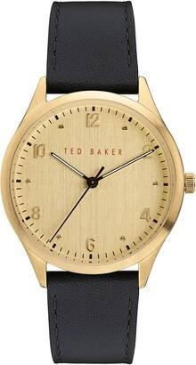 Ted Baker Manhatt Leather Strap Watch, 40mm