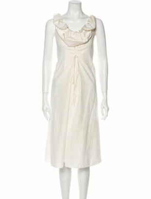 Brock Collection Cowl Neck Midi Length Dress w/ Tags White