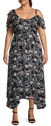 Estelle Plus Tropical-Print Maxi Dress