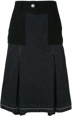 Sacai Box-Pleat Denim Panelled Skirt.