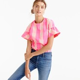 J.Crew Tall ruffle-sleeve top in neon buffalo check