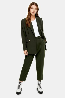 Topshop Womens Dark Green Peg Suit Trousers - Dark Green