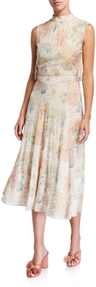 RED Valentino Printed Sleeveless Cape-Back Tie-Neck Midi Dress