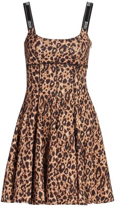 Versace Leopard Print Fit & Flare Dress