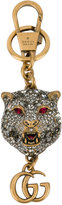 Gucci crystal-embellished tiger's head keychain