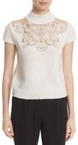 Alice + Olivia Women's 'Carla' Embellished Yoke Mock Neck Sweater
