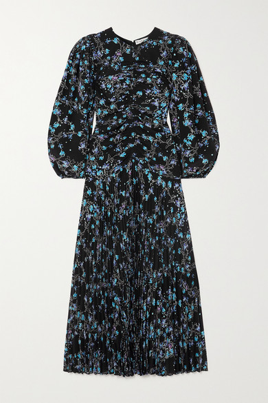 Thumbnail for your product : Givenchy Gathered Pleated Floral-print Silk Crepe De Chine Midi Dress - Blue