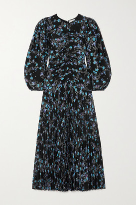 Givenchy Gathered Pleated Floral-print Silk Crepe De Chine Midi Dress - Blue