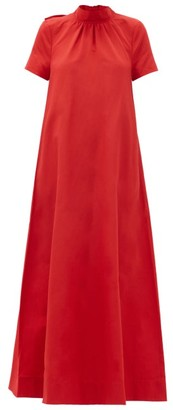 STAUD Llana Cut-out Tie-back Cotton-blend Dress - Red