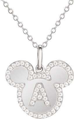 "Disney Mickey Mouse Sterling Silver Initial Pendant ww/ 18"" Chain"