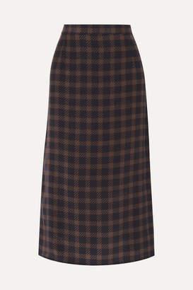 Rokh Houndstooth Silk-georgette Midi Skirt - Black