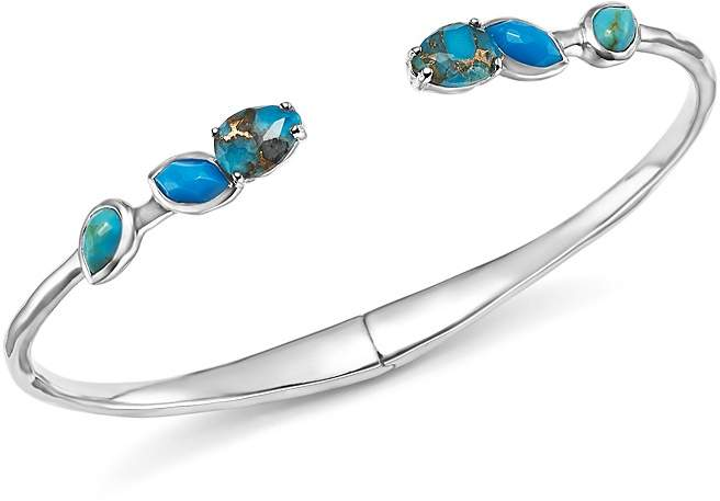 Ippolita Sterling Silver Rock Candy® Mixed Turquoise and Amazonite Doublet Hinged Bangle
