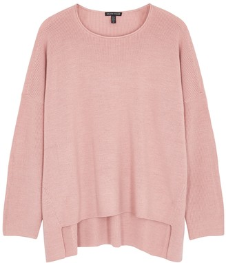 Eileen Fisher Light Pink Ribbed Wool Jumper