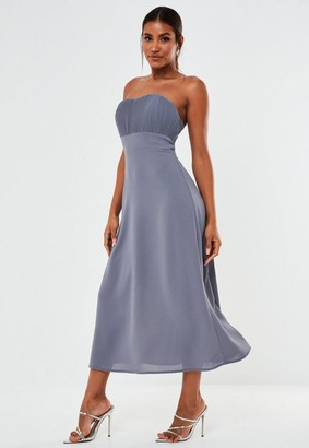 Missguided Blue Pleated Bust Strapless Midaxi Bridesmaid Dress