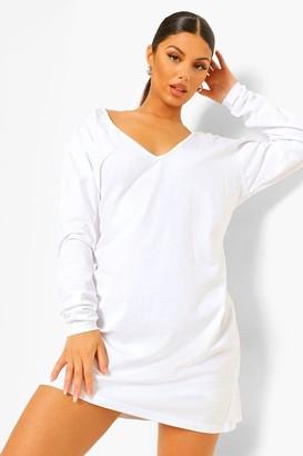 boohoo Long Sleeve V Neck T-shirt Dress