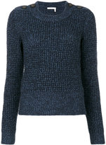 See by Chloe button shoulder fisherman sweater - women - Cotton/Mohair/Wool - S