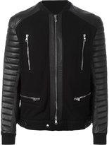 Balmain knitted biker jacket - men - Cotton/Lamb Skin/Polyester - S