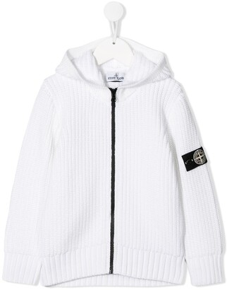 Stone Island Junior Knitted Zip Up Hoodie