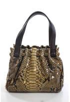 Judith Leiber Brown Python Jeweled Detail Double Handle Mini Handbag