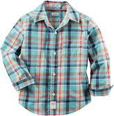 Carter's Long-Sleeve Turquoise Plaid Woven Button-Front Shirt - Boys 4-8